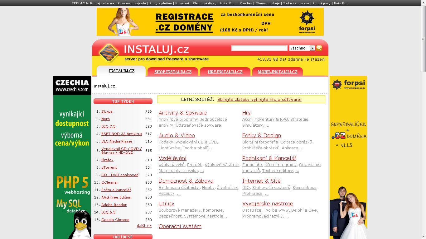 Download portál instaluj.cz s databází programů ke stažení které jsou zdarma (freeware) nebo zdarma k vyzkoušení (demo, shareware...)