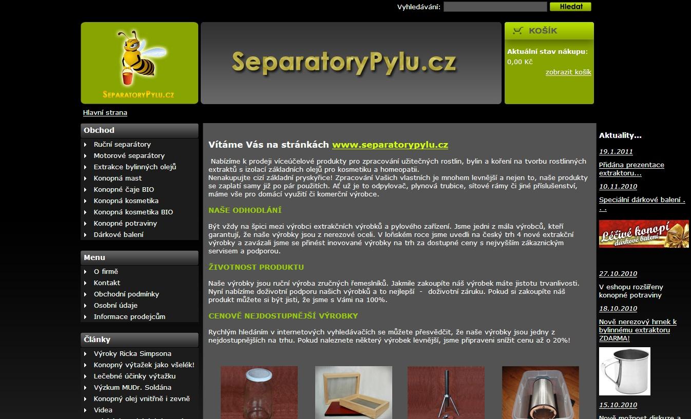 Separátory pylu, extrakce bylinných olejů...