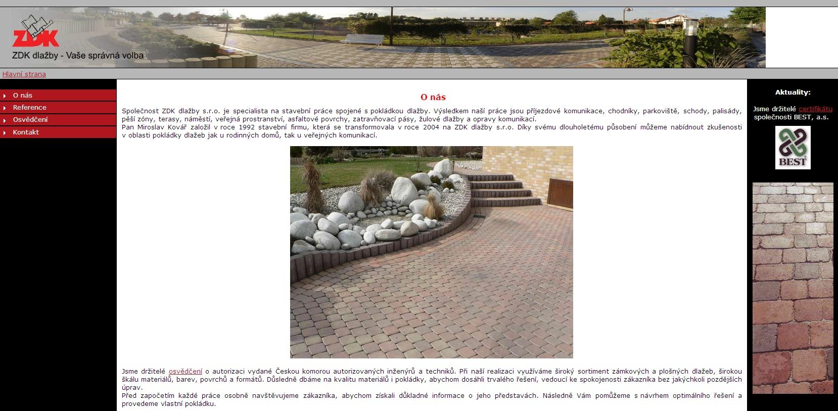 Společnost ZDK dlažby s.r.o. je specialista na stavební práce spojené s pokládkou dlažby. Výsledkem naší práce jsou příjezdové komunikace, chodníky, parkoviště, schody, palisády, pěší zóny, terasy, náměstí, veřejná prostranství, asfaltové povrchy, zatravňovací pásy, žulové dlažby a opravy komunikací.