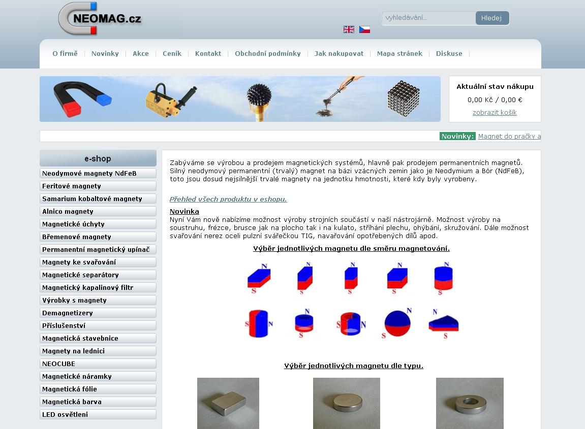 Zabýváme se výrobou a prodejem magnetických systémů, hlavně pak prodejem permanentních magnetů. Neodymový permanentní (trvalý) magnet na bázi vzácných zemin jako je Neodymium a Bór (NdFeB), toto jsou dosud nejsilnější trvalé magnety na jednotku hmotnosti, které kdy byly vyrobeny.